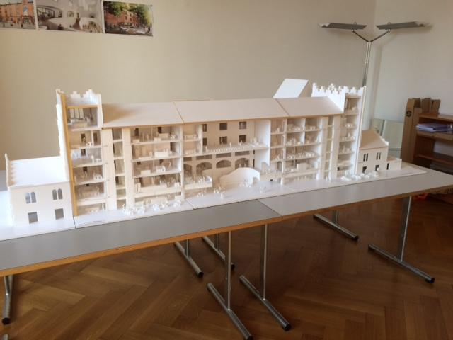 Das Modell: So soll der Hauptbau der Kaserne nach dem Umbau aussehen.